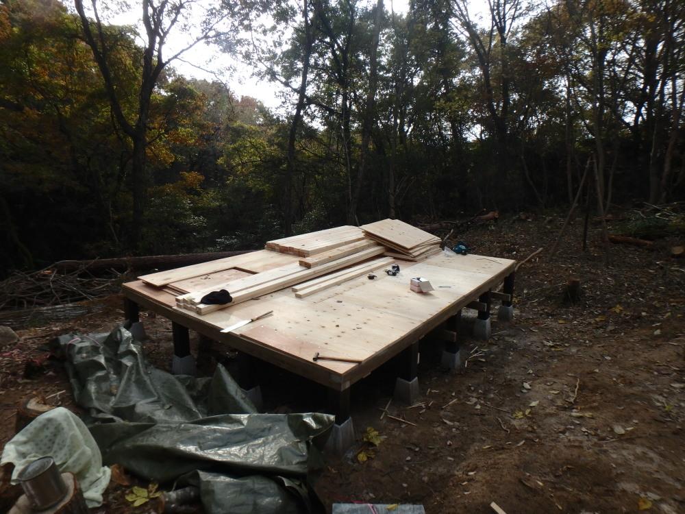 小屋のDIY日誌 24mm厚床合板張り、釘やビスの間隔と必要長さは?