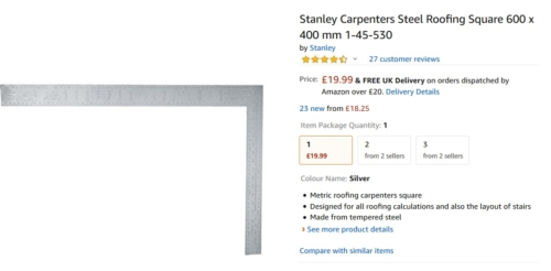 Stanley Carpenters Steel Roofing Square